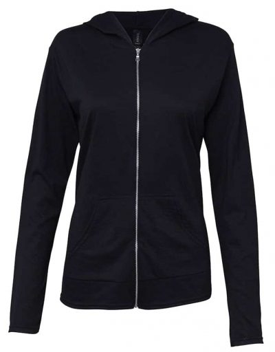 Anvil women's triblend full-zip hooded jacket - Black - Anvil