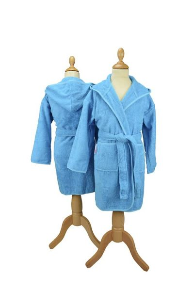 Boyzz & Girlzz hooded bathrobe - Aqua Blue - ARTG