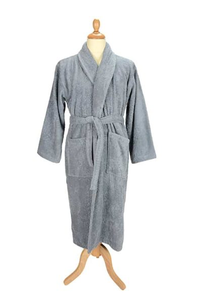 Bath robe with shawl collar - Anthracite Grey - ARTG