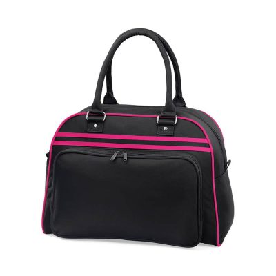 Retro bowling bag - Black/Fuchsia - BagBase