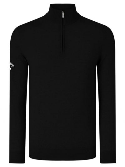 Ribbed 1/4 zip Merino sweater - Black Onyx - Callaway