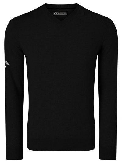 Ribbed v-neck Merino sweater - Black Onyx - Callaway