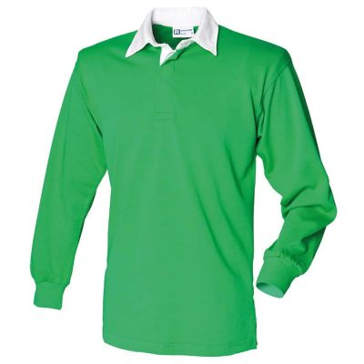 Long sleeve plain rugby shirt - Bright Green/White - Front Row