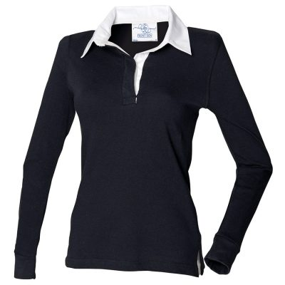 Women's long sleeve plain rugby shirt - Black/White - Front Row