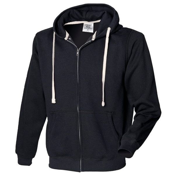 Zip-through hoodie - Black - Front Row
