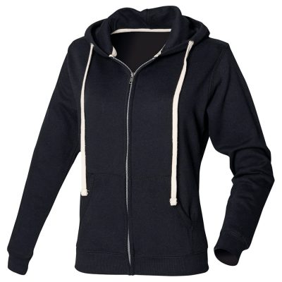 Women's zip-through hoodie - Black - Front Row