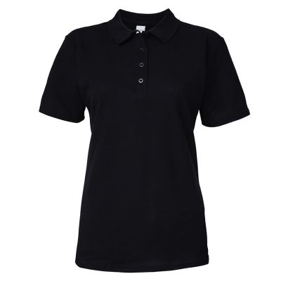 Women's softstyle double piqu polo - Black - Gildan