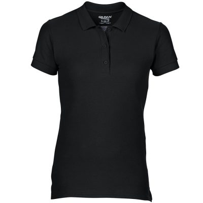 Women's premium cotton double piqu sport shirt - Black - Gildan