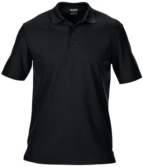 Performance double piqu sports shirt - Black - Gildan