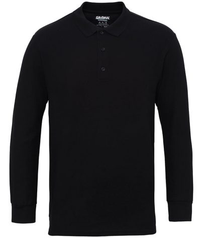 Premium cotton long sleeve double piqu polo - Black - Gildan