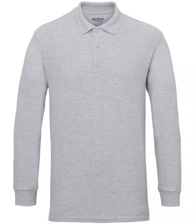 Premium cotton long sleeve double piqu polo - RS Sport Grey - Gildan