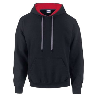 Contrast Heavy Blendô hoodie - Black/Red - Gildan