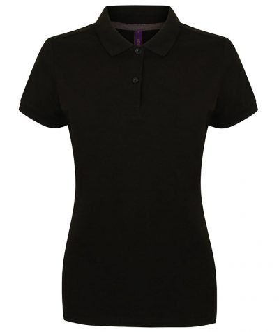 Women's micro-fine piqu polo shirt - Black - Henbury