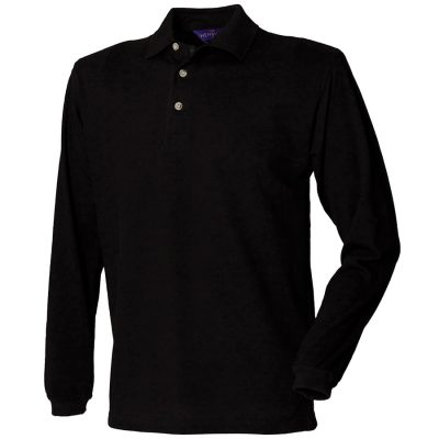 Long sleeve cotton polo shirt - Black - Henbury