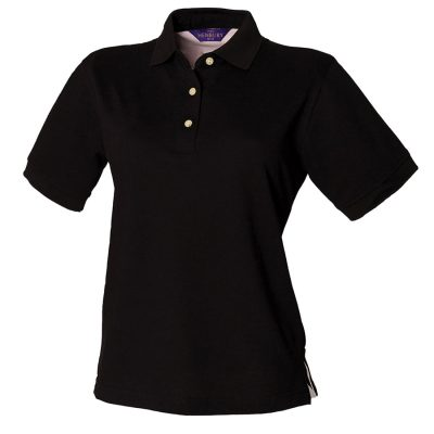 Women's classic cotton piqu polo shirt - Black - Henbury