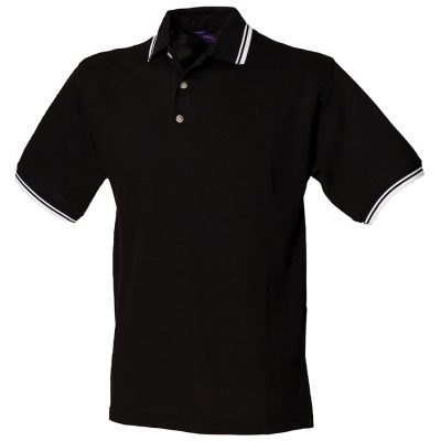 Double tipped collar and cuff polo shirt - Black/White - Henbury