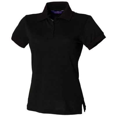 Women's stretch piqu polo shirt - Black - Henbury