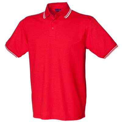 65/35 tipped piqu polo shirt - Red/White - Henbury