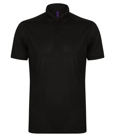 Stretch polo shirt with wicking finish - Black - Henbury