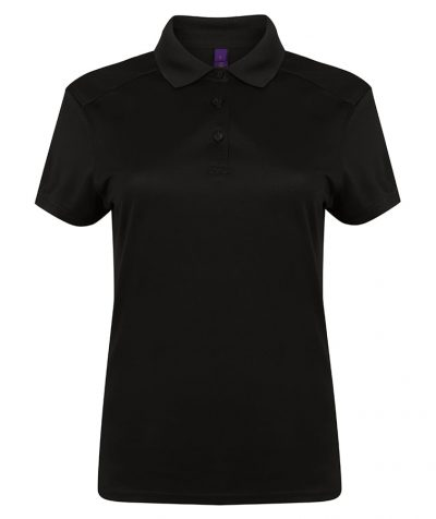 Women's stretch polo shirt with wicking finish - Black - Henbury