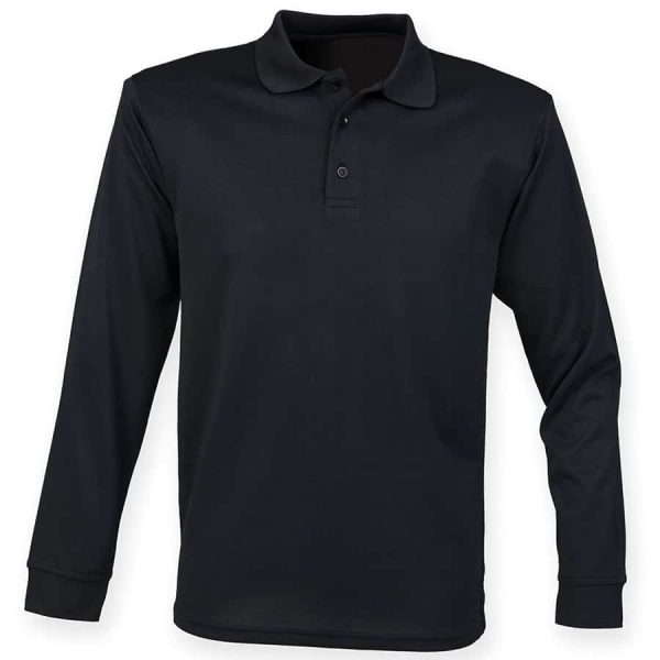 Long sleeve Coolplus polo shirt - Black - Henbury