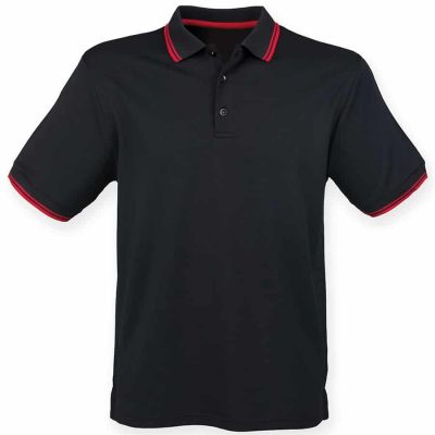 Double tipped Coolplus polo shirt - Black/Red - Henbury