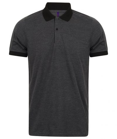 Contrast triblend polo shirt - Heather Charcoal/Black - Henbury