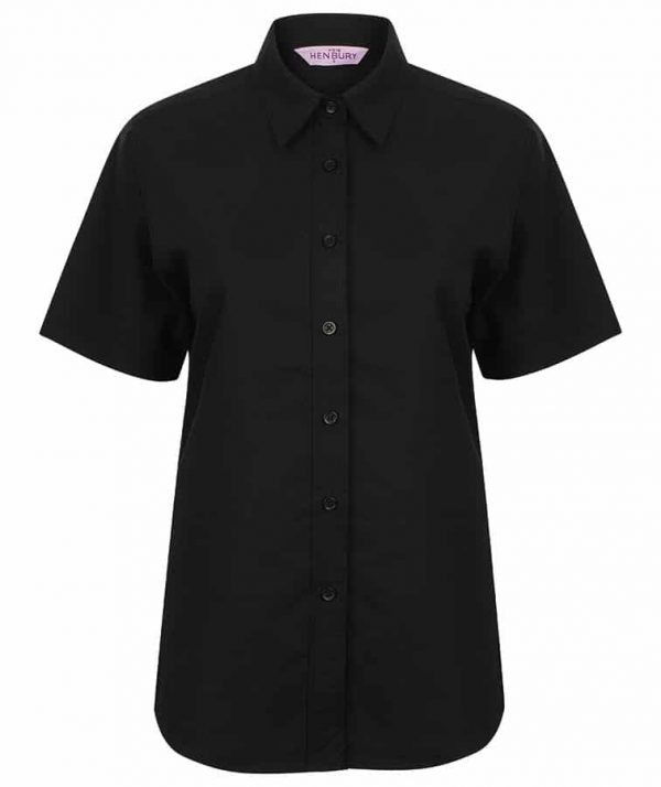 Women's short sleeve classic Oxford shirt - Black - Henbury