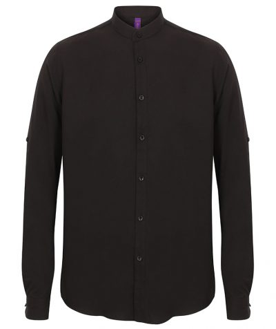Mandarin shirt with roll-tab sleeve - Black - Henbury