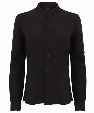 Women's Mandarin shirt with roll-tab sleeve - Black - Henbury