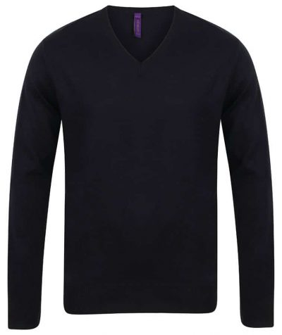 12 gauge v-neck jumper - Black - Henbury