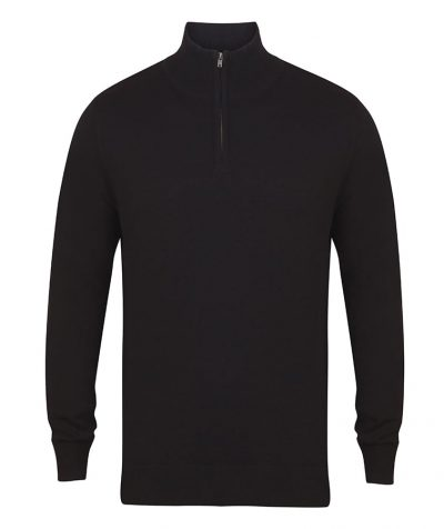 1/4 zip jumper - Black - Henbury
