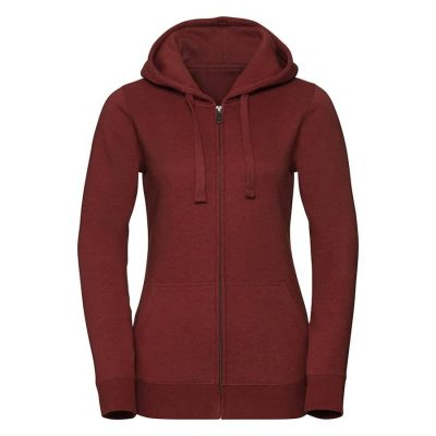 Women's authentic melange zipped hood sweatshirt - Brick Red Melange - Russell