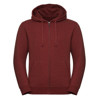 Authentic melange zipped hood sweatshirt - Brick Red Melange - Russell