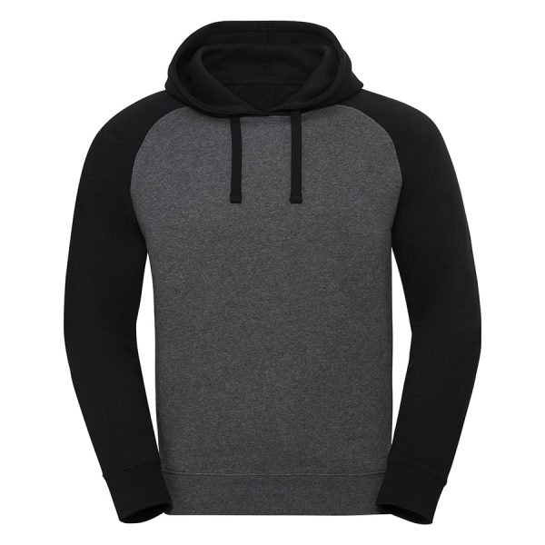 Authentic hooded baseball sweatshirt - Carbon Melange/Black - Russell