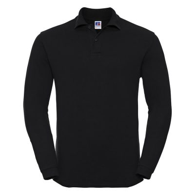 Long sleeve classic cotton polo - Black - Russell