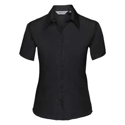 Women's short sleeve ultimate non-iron shirt - Black - Russell Collection