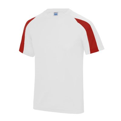 Kids contrast cool T - Arctic White/Fire Red - AWDis Cool