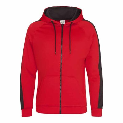 Sports polyester zoodie - Fire Red/Jet Black - AWDis Hoods
