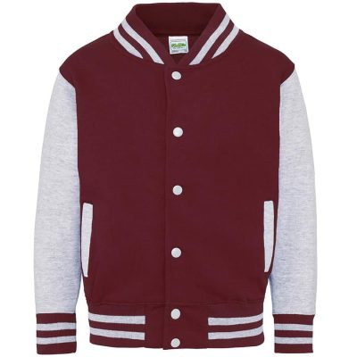 Kids varsity jacket - Burgundy/Heather Grey - AWDis Hoods