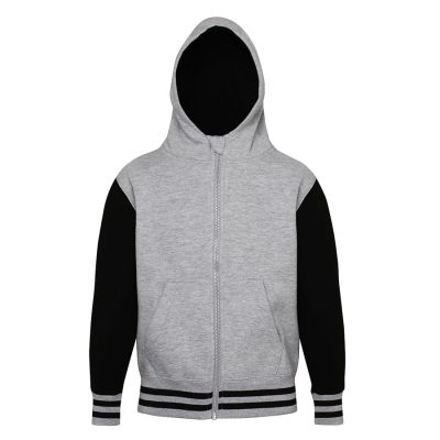 Kids urban varsity zoodie - Heather Grey/Jet Black - AWDis Hoods