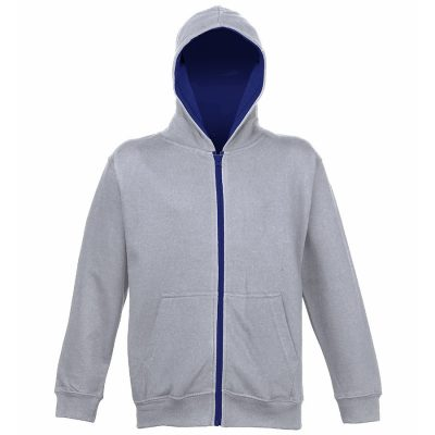 Kids varsity zoodie - Heather Grey/French Navy - AWDis Hoods