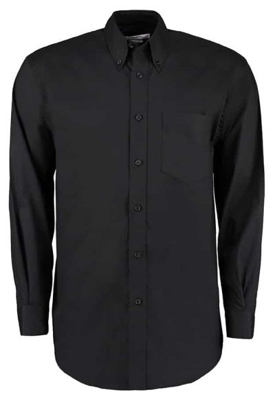 Corporate Oxford shirt long sleeved - Black - Kustom Kit