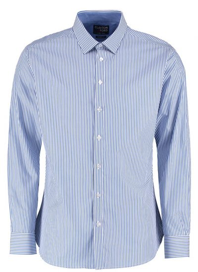 Clayton & Ford Bengal stripe shirt long sleeve (tailored fit) - Mid Blue/White - Clayton & Ford