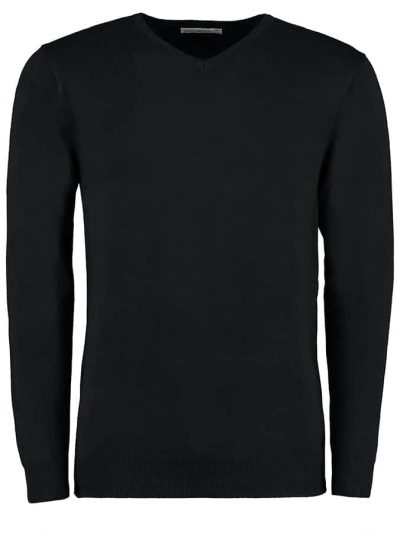 Arundel v-neck sweater long sleeve - Black - Kustom Kit