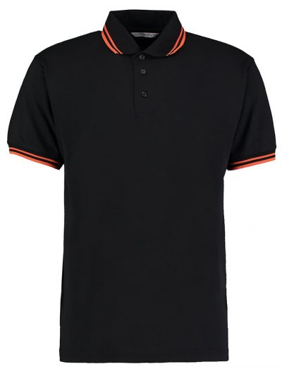 Tipped collar polo - Black/Orange - Kustom Kit