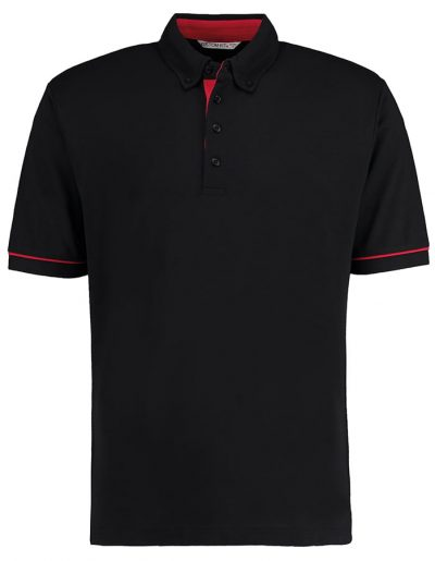 Button-down collar contrast polo - Black/Red - Kustom Kit