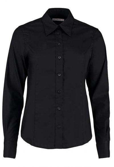 Women's corporate Oxford blouse long sleeved - Black - Kustom Kit