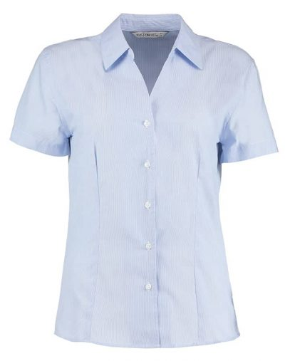 Women's pinstripe blouse short sleeved - Blue/White - Kustom Kit