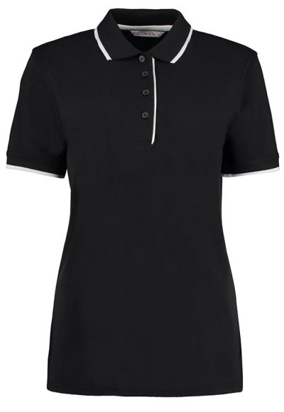 Women's essential polo - Black/White - Kustom Kit
